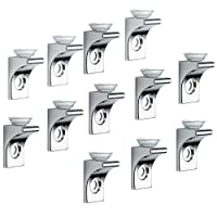 Glass Shelf Bracket, Tiberham 12 Pcs Zinc Alloy Polished Chrome Right Angle Shelf Support Fixing Clip with Suction Cup Base, Wall Mounted Glass Support Pegs Corner Brace Board Holder