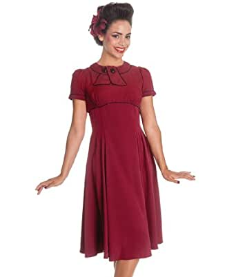 Hell Bunny 40s 50s Mae West Vintage Tea Dress Burgundy - UK 8 (XS)