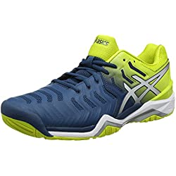 Asics Gel-Resolution 7, Zapatillas de Tenis para Hombre, Azul (Ink Blue/Sulphur Spring/White 4589), 40 EU