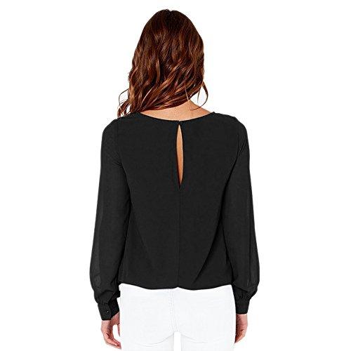 ROPALIA Femme T-shirt Blouse à manche longue en mousseline de soie Noir