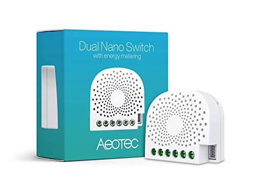 Aeotec Dual Nano Switch Controlador de Encendido/Apagado with Power Metering, 2 interruptores,...