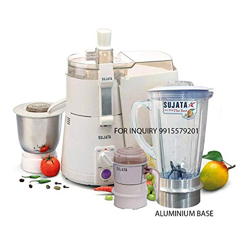 SUJATA Juicer Mixer Grinder with Aluminium Base Jar and Chutney Jar (White)