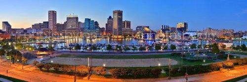 photosbyjon Baltimore Panorama-Poster, Motiv: Skyline des inneren Hafens, 30,5 x 91,4 cm, ungerahmt Dusk (Dämmerung), kein Rand - Kunstaufdruck Big Panoramic Blue,Green,Yellow,red