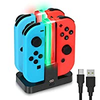 Charging Dock for Nintendo Switch Joy-Con,with USB Type C Cable for Switch Joy Con Controllers,4 in 1 Charger Stand and Charging Holder with Individual LED Indicator