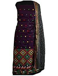 KATHIWALAS Women's Cotton Silk Kutch Work Bandhani/Bandhej Unstitched Dress Material Suit (VAINE CEMENT, Free Size)