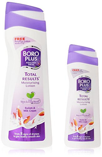 Boro Plus Total Results Moisturizing Lotion, Badam and Milk Cream, 300ml with Free Moisturizing Lotion, 100ml