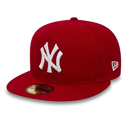 New Era Erwachsene Baseball Cap Mütze Mlb Basic New York Yankees 59Fifty Fitted, Rot, 7 1/2inch - 60cm, 10011573 (Nfl Beanie-mütze)