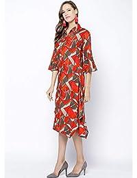 Inddus Red Printed Cotton Midi Dress