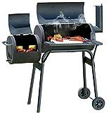 Monsterzeug Smoker Grill in Lok-Form, BBQ Grillwagen, Räuchern und Grillen, inklusive Ascheschaufel mit Schaufelhalterung, Feuerkammer & Grillkammer, Barrel-Smoker