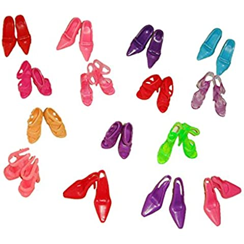 60 Par Zapatos Botas Surtidos Miniatura Plástico Accesorio para Muñecas Barbie