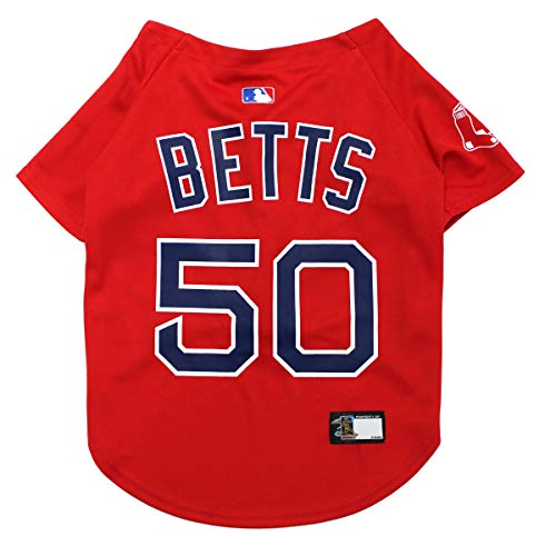 Pets First Mookie Betts Jersey - Licensed MLBPA Apparel for Dogs & Cats - MLB Boston Red Sox Mesh Jersey, X-Large -