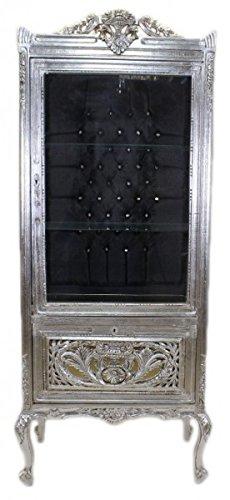 Casa Padrino Barock Vitrine Silber/Schwarz - Vitrinenschrank - Wohnzimmerschrank Glasvitrine