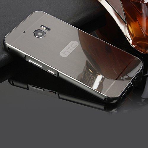 HTC 10/HTC One M10 SpieHülle,BtDuck Metal Mirror Schutzhülle Handyhülle Mirror Protective Case Cover Glitzer Tasche Etui Bumper für HTC 10/HTC One M10 - Schwarz