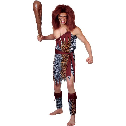 Steinzeit Höhlenmensch Verkleidung für Männer Halloween Party Kostüm Plus Size (Plus Size Halloween Kostüme Männer)