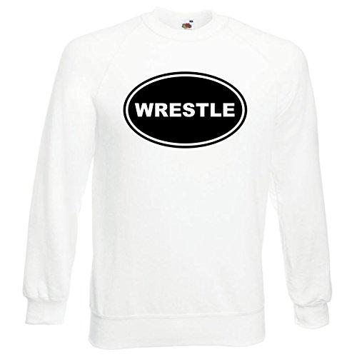 Black Dragon - Sweatshirt Herren & Damen weiß - M - Fruit of the Loom - bedruckt - mit farbigem Brustaufdruck - WRESTLE EURO OVAL - WWE WWF UFC (Wwe Wrestle M)