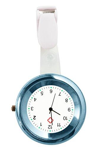 Ellemka JCM-2103 - Schwesternuhr Ansteckuhr FOB elegante-e medizinisch-e Kittel-Uhr Analog funktional Krankenhaus Pflege-r Krankenschwester Quarz Clip Fashion Farbe Hell Blau