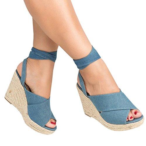 Pxmoda Damen Schnürschuhe Espadrille Wedge Plateau Wildleder Peep Toe Riemchen Mittlerer Absatz Sommerkleid Sandalen (43, Blau)