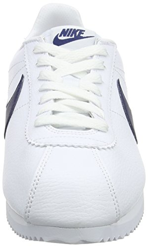 Nike Classic Cortez Leather, Scarpe da Corsa Uomo Bianco (White / Midnight Navy-Gym Red)