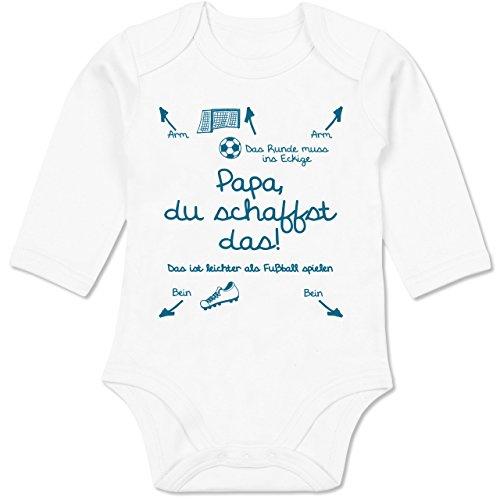 Shirtracer Strampler Motive - Papa du schaffst das Fußball Junge - 3-6 Monate - Weiß - BZ30 - Baby Body Langarm