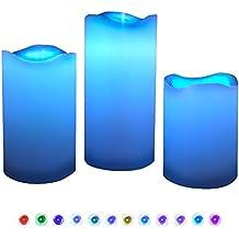 Candele LED, DLAND 3pcs 12 Cambiano Colore cera reale rotonde bordo senza fiamma candele tremolanti a pile con il temporizzatore telecomando per la festa nuziale Christmas Lights