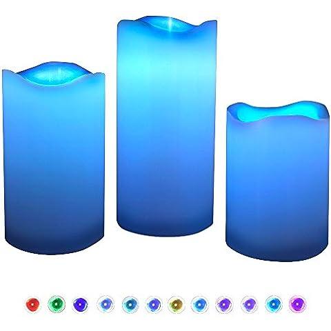 Velas LED, 3pcs Dland 12 Cambia Color cera verdadera Ronda Edge velas sin llama vacilante con pilas con el temporizador de control remoto para la boda del partido de las luces de Navidad