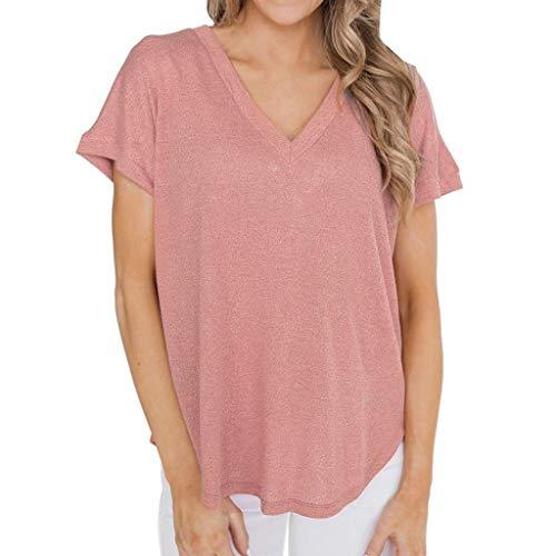 Vimoli Hemden Blusen Damen Kurzarm Urlaub Oansatz Lässige Pure Color T-Shirt Tops(Rosa,M)