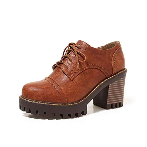 Frauen Gladiator Platz Heel Pumps Lace-Up Casual High Heels Round Toe Platform Court Shoes