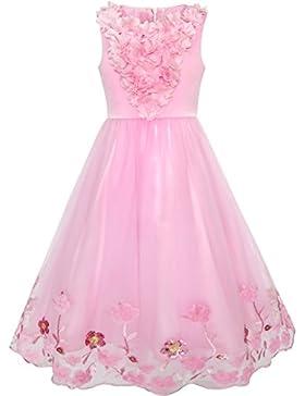 Sunny Fashion Vestido para niña Armada Azul Flor Perla Banda Sol 4-10 años