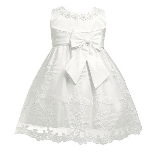 Freebily baby Mädchen Kleid Taufekleid Prinzessin Hochzeit Blumenmädchen Kleinkind Kleidung 68 74 80 86 92, Elfenbein, 68-74 / 6-9 Monate (Blumenmädchen Elfenbein Kleider Satin)