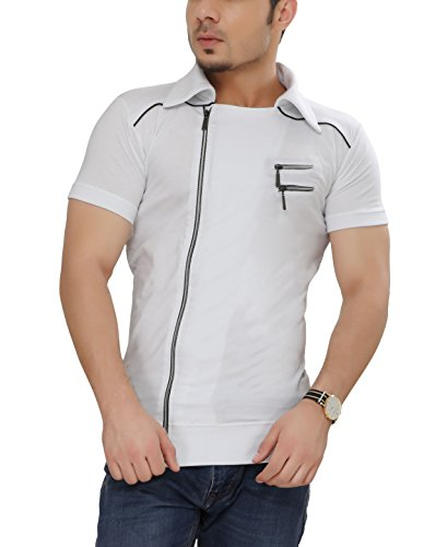 Tees Collection Men's Cotton Half Sleeve Side Zipper White Color Stylish T-Shirt With Collar