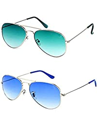 d7a8ef2f630 Y S Combo Pack of UV Protected Aviator Unisex Sunglasses (YS-OC17 GrnGrdnt-SilverBlue)