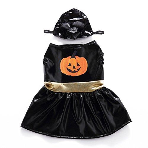 Pet Costume dexinghaoye Tierkostüm dexinghaoye Funny Puppy Party Kostüm Halloween Kürbis Print Pet Hund Rock + Kopfbedeckung Set