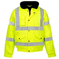 Style spot Hi Vis Viz Coat | Contractor Bomber Jacket | High Visibility Safety Waterproof Coat 2 Tone | 300D Oxford PU Fabric Jacket