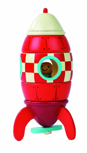 Janod J05207 Wooden Magnetic Rocket, Small (16 cm)