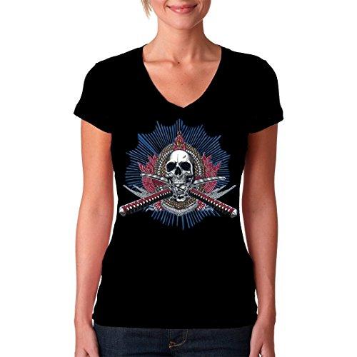 Im-Shirt - Totenkopf mit gekreuzten Schwertern Oversize Shirt cooles Fun Girlie Shirt - verschiedene Farben Schwarz