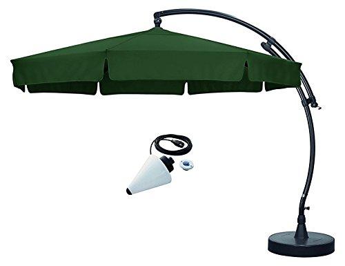 sun garden Easy Sun Parasol déporté Plus ø3,50m Set Pied d'écran étui Vert