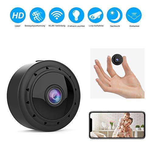 Mini WLAN Kamera Überwachungskamera Wireless Full HD 1080P mit 8 Infrarot-Licht Nachtsicht Bewegungserkennung App Fernbedienung 150° Weitwinkel unterstützt 128GB SD-Karte für Heim- und Bürosicherheit