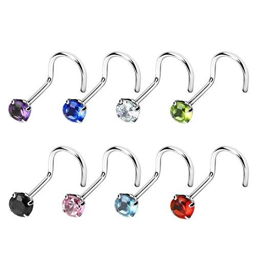 Paula & fritz®, piercing per naso, con zirconia cubica, in acciaio chirurgico 316l e colore pietra: set da 8 pezzi per ogni colore, colore: set da 8, cod. cbnose04-20-8er