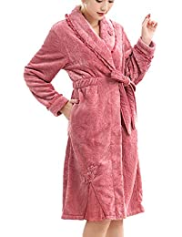 Franela Camisón Mujer Invierno Grueso Cálido Y Largo Coral Polar Pijamas Albornoz Albornoz Modelos De Otoño
