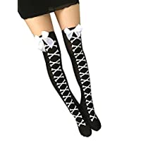Ouvin Cosplay Halloween Knee-high Novelty Sock Bow-tie Mariner NurseSpider Web Pattern Socks (Black White)
