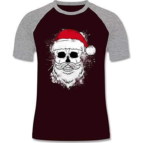 Weihnachten & Silvester - Totenkopf mit Weihnachtsmütze und Bart - zweifarbiges Baseballshirt für Männer Burgundrot/Grau meliert