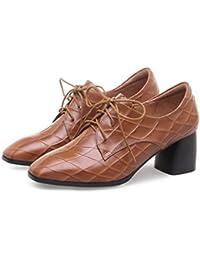GAOLIXIA Damen Damen Starke Ferse Schuhe Vier Jahreszeiten Britischen Stil Leder High Heels Vintage Schuhe Klassische...