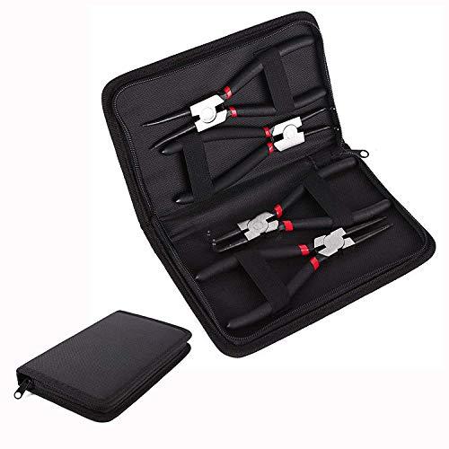 Sicherungsring-Zangen-Set, 17,8 cm, professionell, robust, 17,8 cm, innen und außen, gerade, gebogene Sicherungsringzange, 4 Stück (Zange Set Sicherungsring)