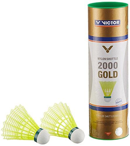 VICTOR Badminton Federball Nylon 2000 6er Dose, Gelb/Grün