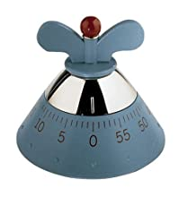 Alessi Kitchen Timer A09 Timer da Cucina di Design con Movimento Meccanico in Resina Termoplastica, Azzurro