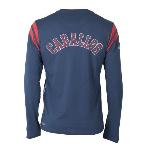 Dos Caballos Men'Luz s Long Sleeve Shirt Blau - Navy/Rot