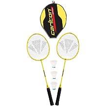 2er-Set Badminton Schl/äger spielfertig besaitet Gr/ün und Orange inkl 2 B/älle /& Federballtasche