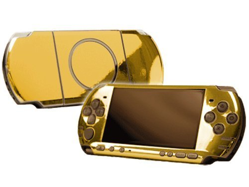 Sony PlayStation Portable 3000 (PSP-3000) Skin - NEW - GOLD CHROME MIRROR system skins faceplate decal mod by System Skins