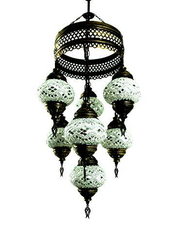 Orientalische Türkische Handgefertigte Mosaik Glas Hänge Lampe Innenleuchte Pendelleuchte Deckenleuchte Aussenleuchte Handarbeit Hängeleuchte Hängelampe 7 Lichter Glasgröße 2 (Silber) (Asiatische Orientalische Lampe)