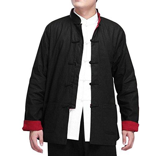 Zooboo Kung Fu Uniform Kleidung–Traditionelle Chinesische Tai Chi Qi Gong Martial Arts Wing Chun Shaolin Taekwondo Training Kleidung für Senioren Anfänger Herren Frauen Arthritis–Baumwolle & Lin, Schwarz mit Rot Kung Fu Uniform Black